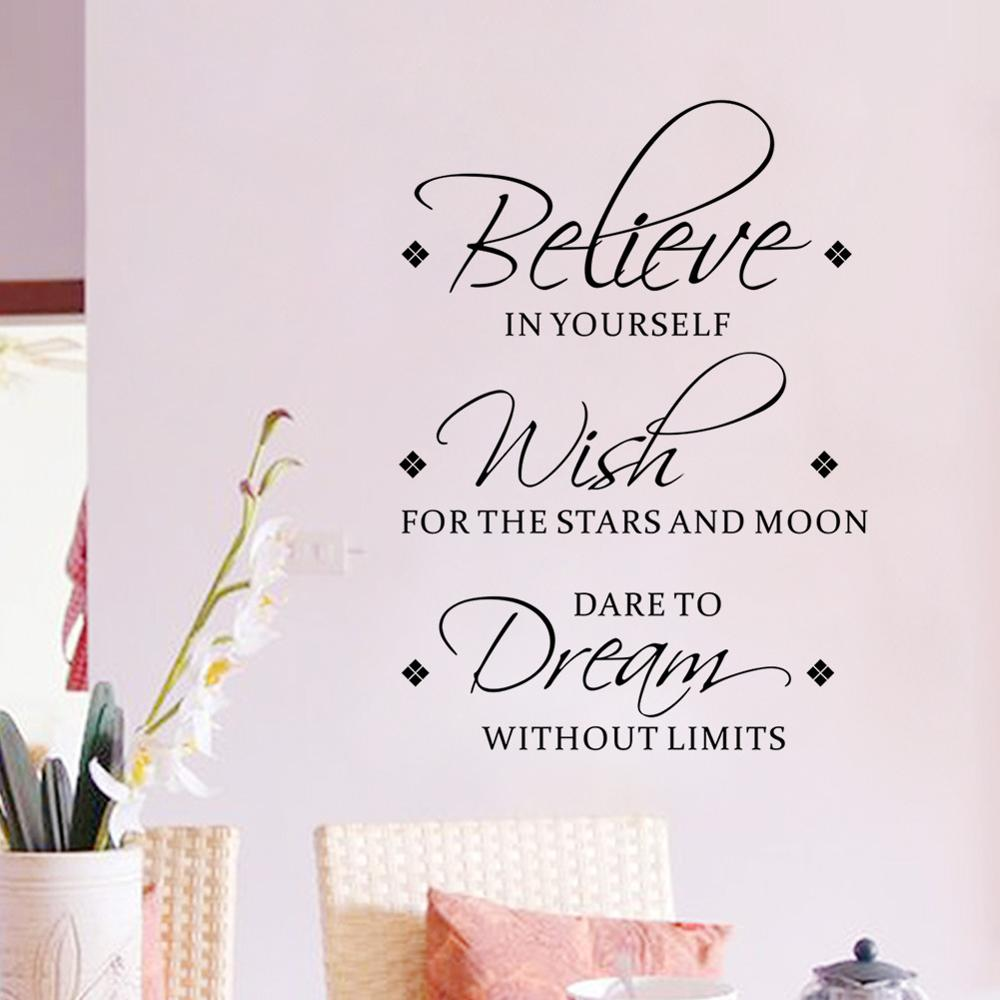 Believe In Yourself Inspirational Words Wall Decals For Living Room Bedroom Wall Removable PVC Vinyl Wall Mural For Simple Creative DIY Home Decoration