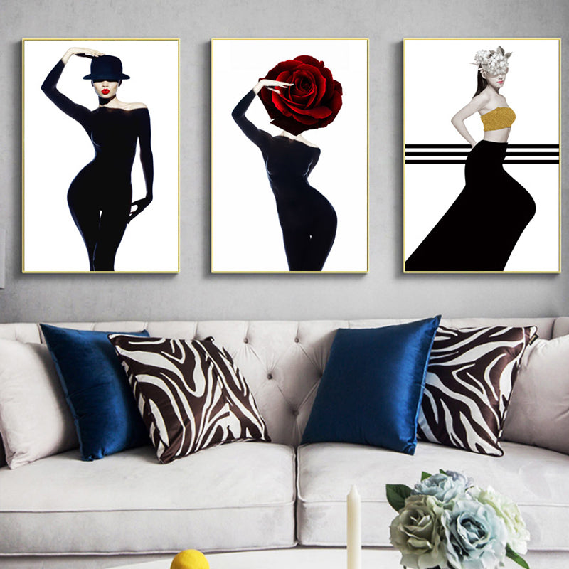 Belle Luxury Glamour Fashion Models Salon Art Posters Nordic Style Red  Black Gold Boutique Decor Fine Art Canvas Prints For Modern Home Decor