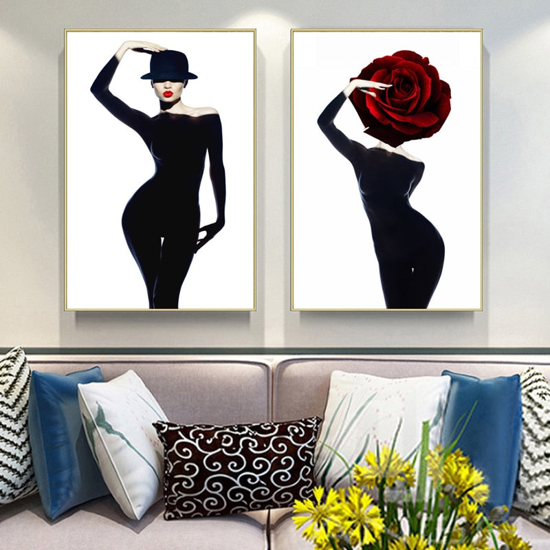 Belle Glamour Fashion Models Salon Art Posters Nordic Style Black Red White Gold Boutique Decor Fine Art Canvas Prints For Modern Home Decor