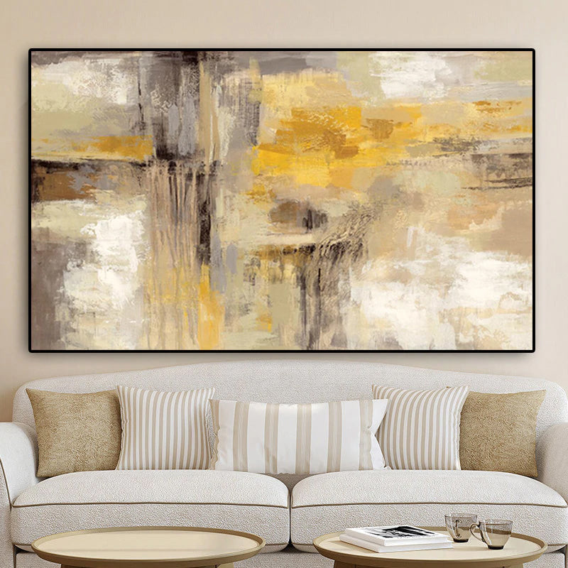Big Size Modern Abstract Wall Art Fine Art Canvas Prints Golden Brown Yellow Beige Cream Contemporary Painting For Living Room Bedroom Home Office Decor