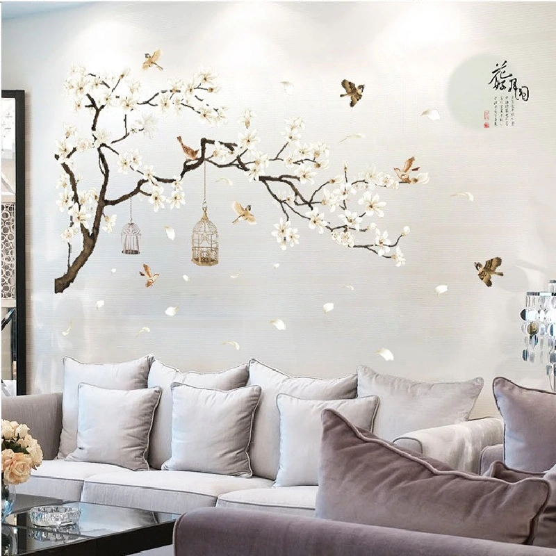 Birds In Tree With Birdcages Big Size Wall Mural Removable PVC Wall Art Decal For Living Room Dining Room Bedroom DIY Modern Home Decor