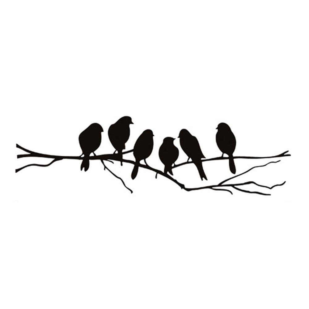 Birds On The Branch PVC Wall Mural Black Bird Silhouette Vinyl Wall Sticker Removable Decal For Kitchen Window Living Room Dining Room Creative Home Decor