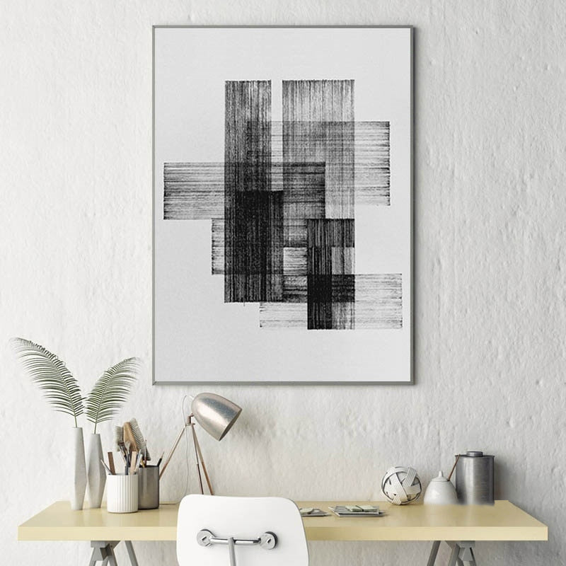 Black And White Abstract Geometric Figure Nordic Modern Style Posters Canvas Pictures For Living Room Decor Painting Unframed