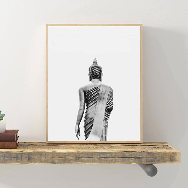 Black And White Minimalist Buddha Statue Wall Art Fine Art Canvas Prints Posters For Meditation Yoga Studio Living Room Bedroom Modern Home Decor