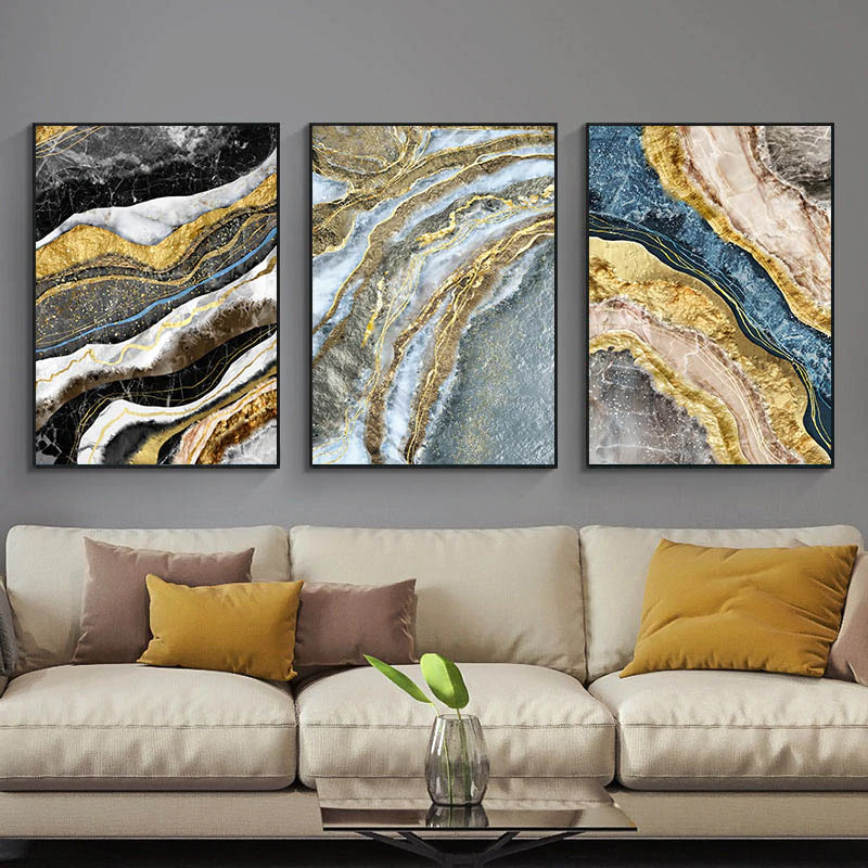 Black Blue Marble Golden Geode Wall Art For Home Office Fine Art Canvas Giclee Prints Modern Pictures For Living Room Bedroom Luxury Interior Decor