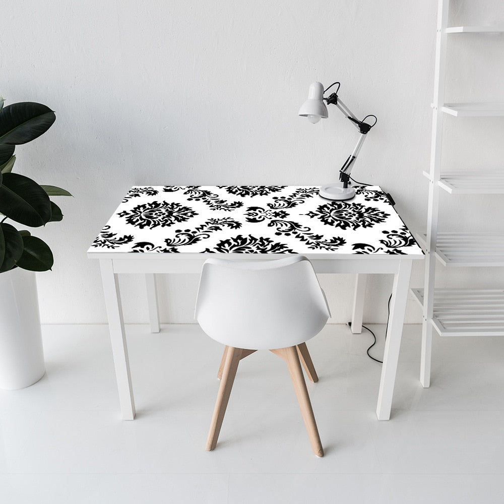 Black Damask Peel & Stick Vinyl Wall Mural Self Adhesive PVC Wallpaper Sticky Back Covering For Walls Furniture Cabinets Surfaces Creative DIY Home Office Decor