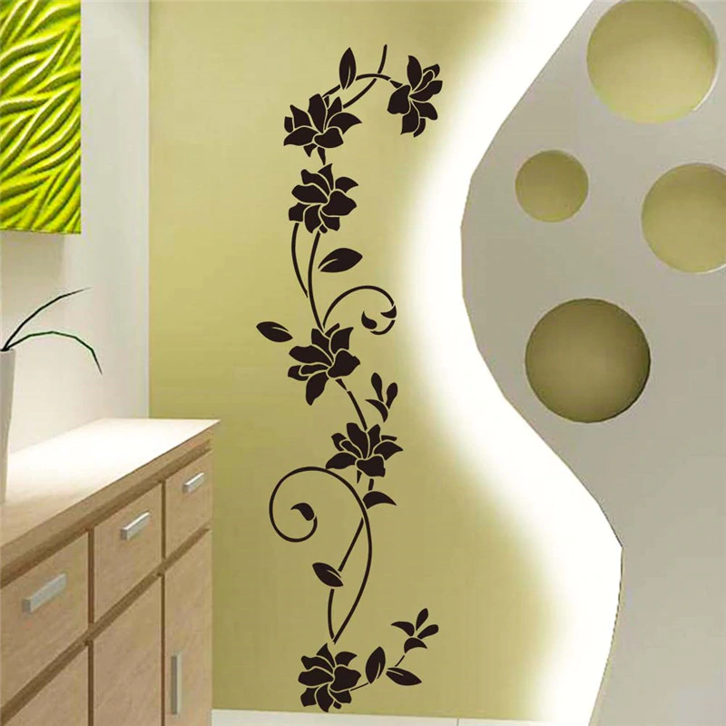 Black Flowers Vine Wall Art Mural Removable PVC Wall Decal For Bedroom Decor Living Room Wall Kitchen Door Decoration DIY Creative Home Decor
