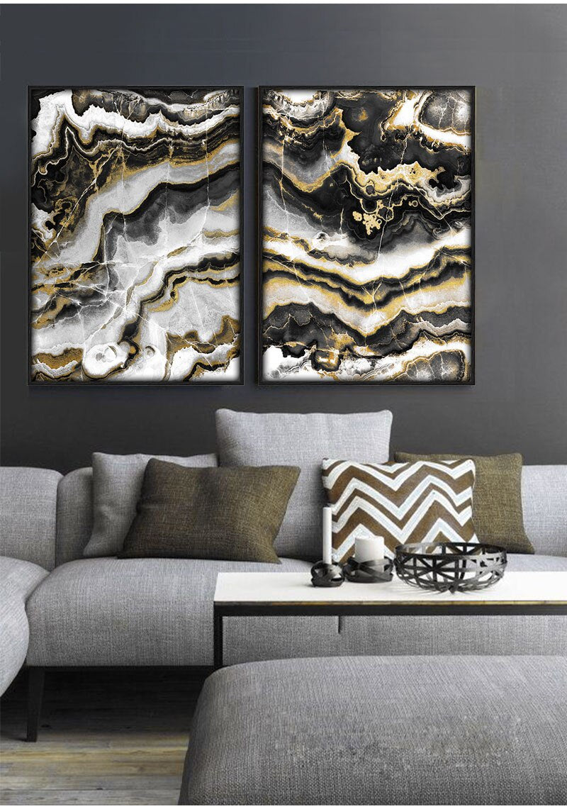 Black Gold Marble Abstract Wall Art Modern Luxury Fine Art Canvas Prints Fashionable Pictures For Bedroom Living Room Home Interior Decor