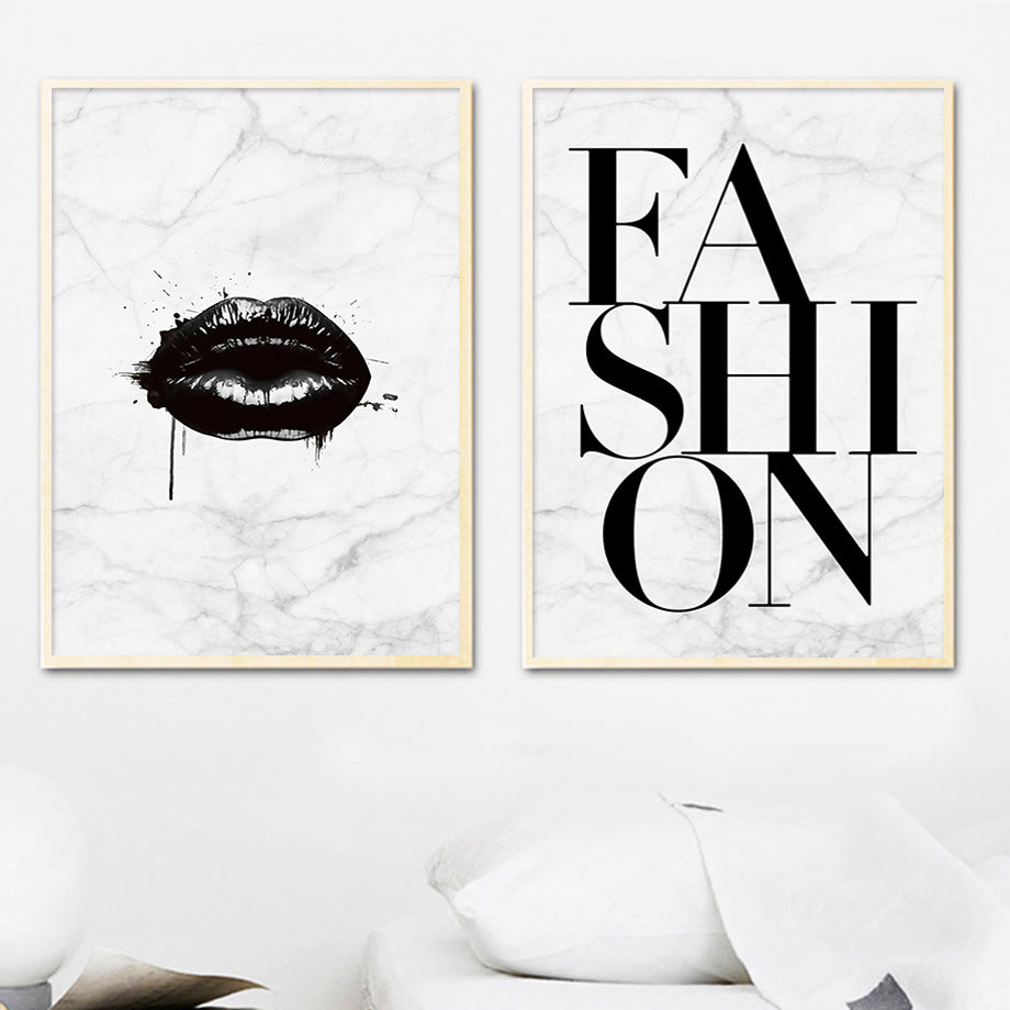Black White Lips Wall Art Fine Art Canvas Prints Modern Fashion Quote Marble Background Nordic Style Pictures For Bedroom Living Room Glam Home Decor