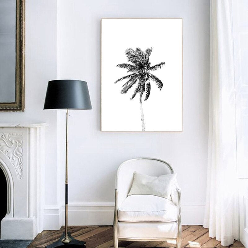 Black & White Palm Trees Wall Art Fine Art Canvas Prints Simple Minimalist Inspirational Landscape Tropical Travel Seascape Beach Scene Pictures For Living Room