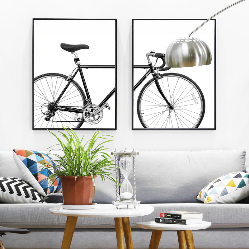Black & White Racer Bike Bicycle Wall Art Posters Minimalist Cycle Pictures Fine Art Canvas Prints Nordic Style Pictures For Cycling Enthusiasts