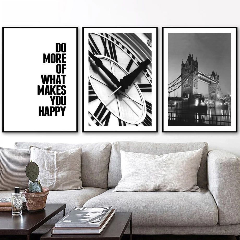 Black & White Tower Bridge Photo London Wall Art Fine Art Canvas Prints Clock Face Travel Quote Modern Pictures For Living Room Home Decor