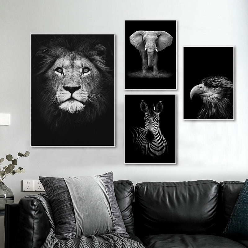 Black & White Wild Animals Wall Art Minimalist Nordic Style Fine Art Canvas Prints Modern Pictures Of Nature For Living Room Bedroom Home Office Decor