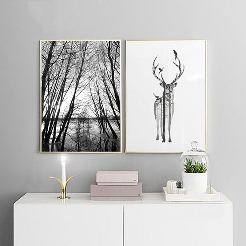 Black and White Forest Deer Minimalist Nordic Wall Art Fine Art Canvas Prints Scandinavian Style Pictures For Bedroom Living Room Home Decor