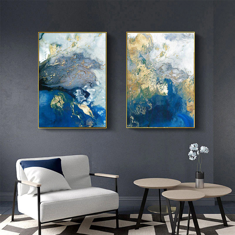 Blue Marble Abstract Ocean Wall Art Golden Azure Contemporary Nordic Paintings Fine Art Canvas Prints For Modern Home Office Interior Decor