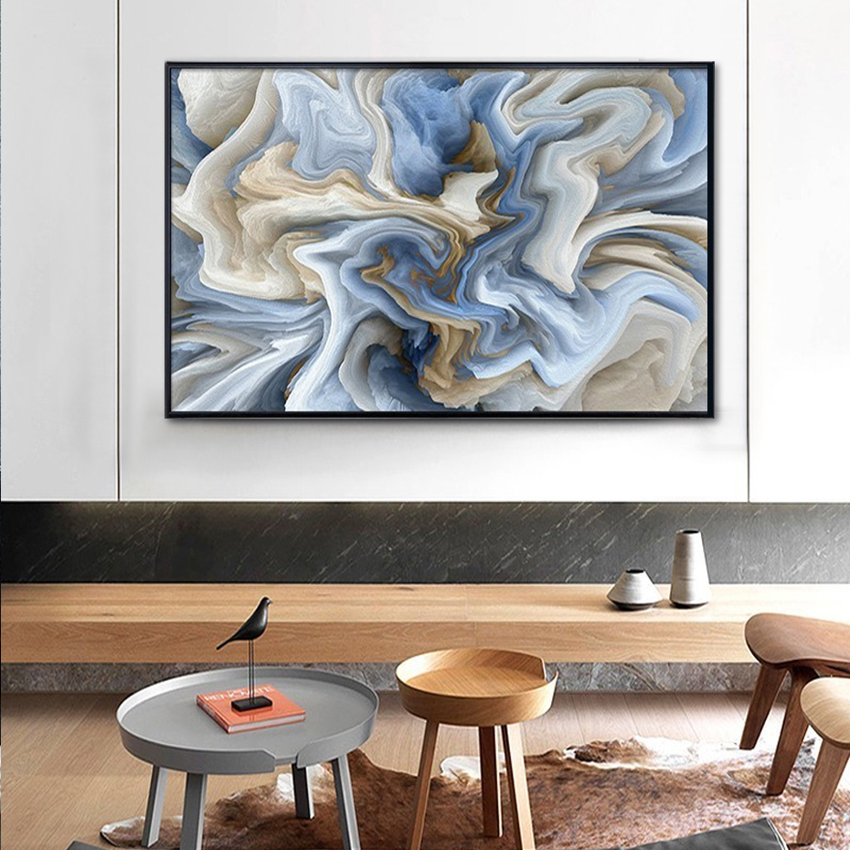 Blue Marble Abstraction Wall Art Fine Art Canvas Prints Pastel Color Contemporary Picture For Office Interior Painting For Living Room Modern Home Decor