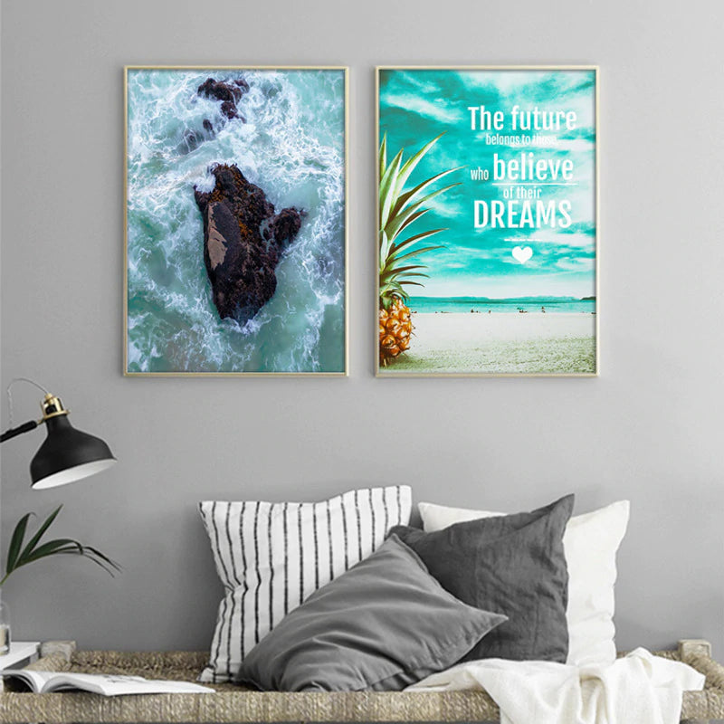 Blue Ocean Waves Posters Nordic Life Abstract Photographic Seascape Canvas Wall Art Prints For Modern Office and Home Decor