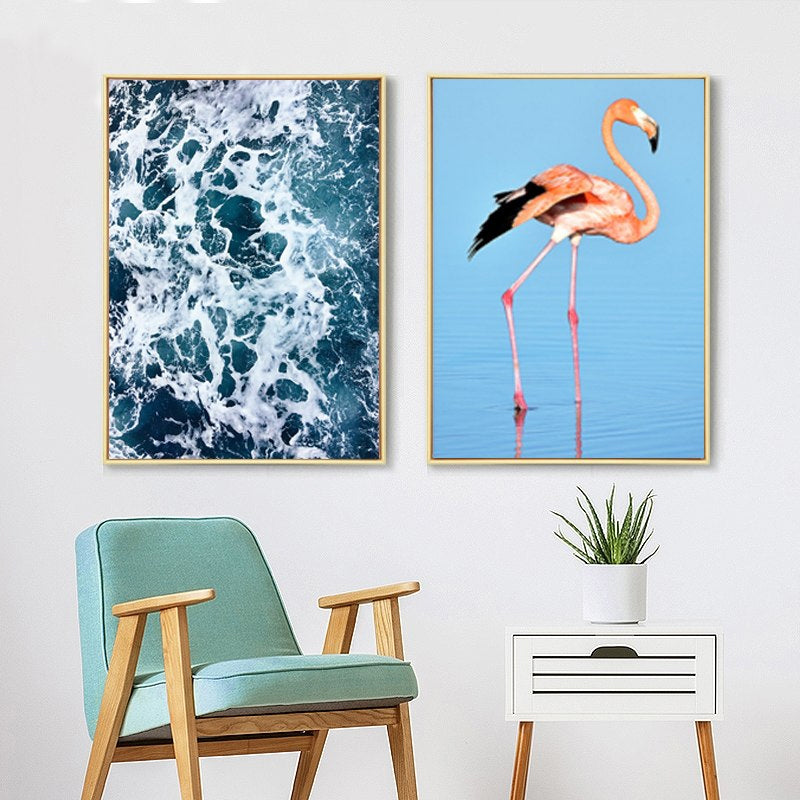 Blue Sea Pink Flamingo Modern Pop Art Canvas Wall Posters Photographic Prints For Office Living Room Bedroom or Bathroom Modern Home Decor