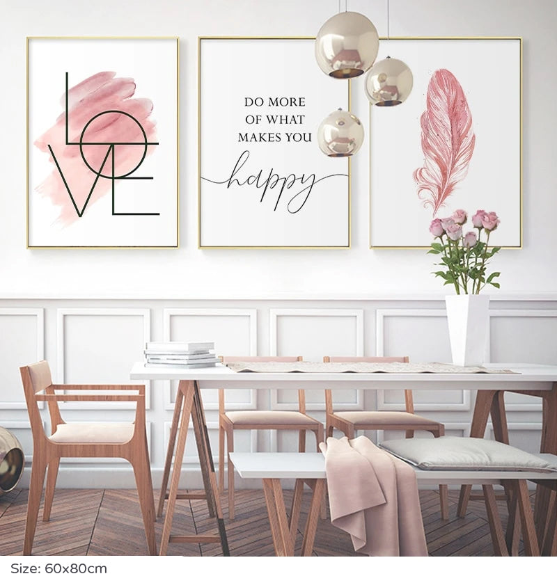 Blush Pink Do More Of What Makes You Happy Quote Wall Art Fine Art Canvas Prints Inspirational Fashion Posters For Girls Room Nordic Style Home Wall Art Decor