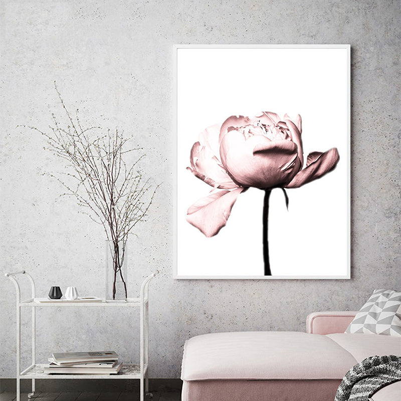 Blush Pink Peony Flowers Coco Print Wall Art Minimalist Nordic Style Fashion Beauty Salon Pictures For Bedroom Glam Home Interior Decor