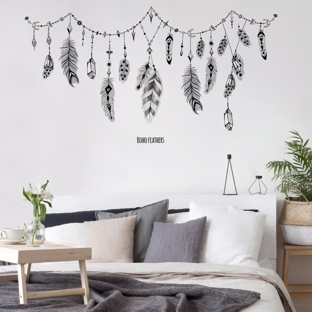 Bohemian Black Feathers And Crystals Vinyl Wall Decal Removable PVC Mural For Bedroom Creative DIY Home Decoration For Above Sofa Living Room Home Decor