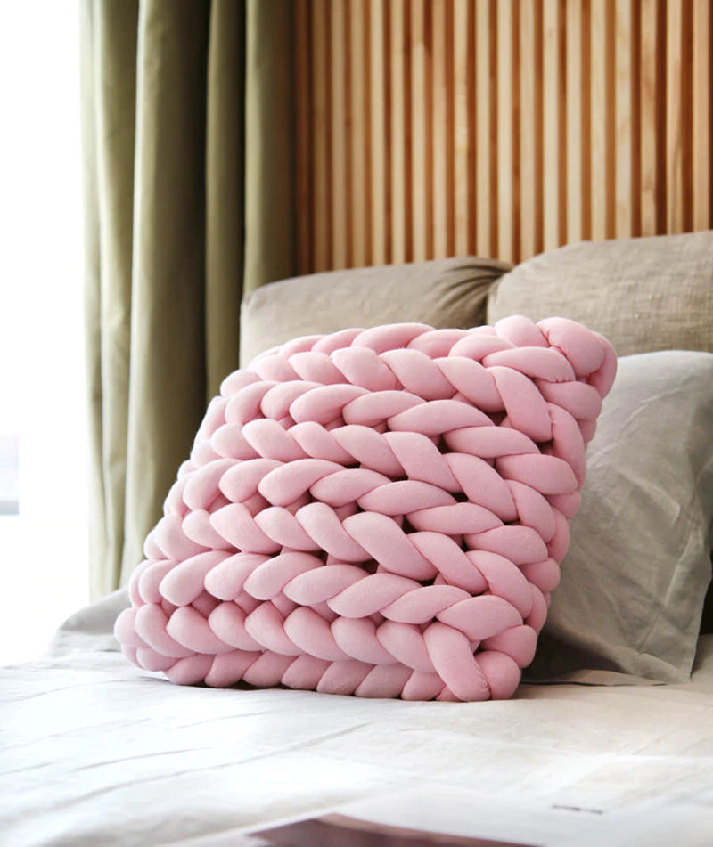 Braid Knotted Pillow Cushion Chunky Knitted Cushion Nordic