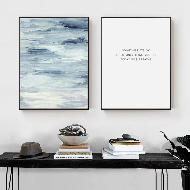 Breathe Quotation Minimalist Black And White Quote Poster Seascape Art Fine Art Canvas Prints Nordic Style Inspirational Wall Art Home Decor