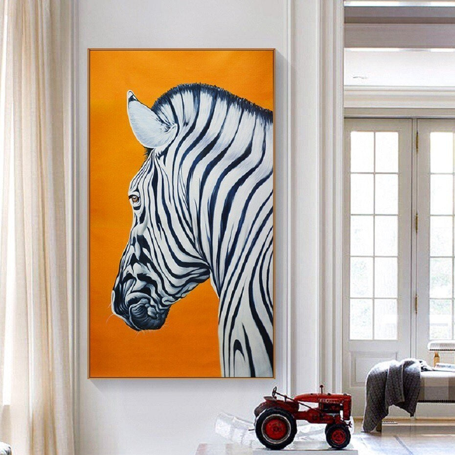 Bright Colorful Zebra Print Wall Art Orange Background Fine Art Canvas Prints Nordic Style Minimalist Animal Paintings For Modern Home Decor