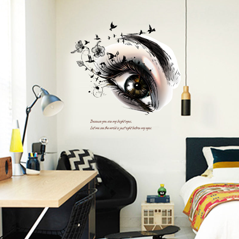 Bright Eyes Beauty Fashion Wall Decal Removable PVC Wall Mural For Girl's Bedroom Wall Stickers For Living Room Beauty Salon Creative DIY Home Wall Art Decor