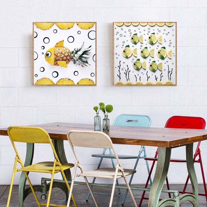 Bright Modern Kitchen Wall Art Decor Pineapple Art Lime Fish Fine Art  Canvas Prints Pictures For Kitchen Dining Room Modern Home Decoration