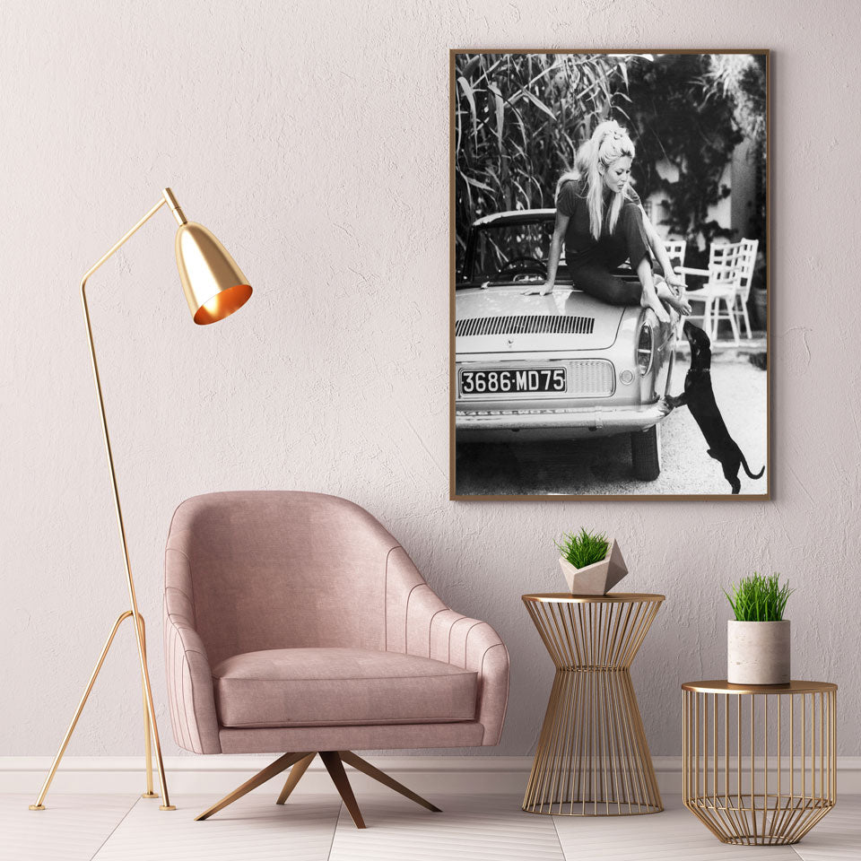 Brigitte Bardot Black & White Fashion Wall Art Classic Poster Vintage Photo Fine Art Canvas Print Picture For Living Room Bedroom Salon Wall Art Decor