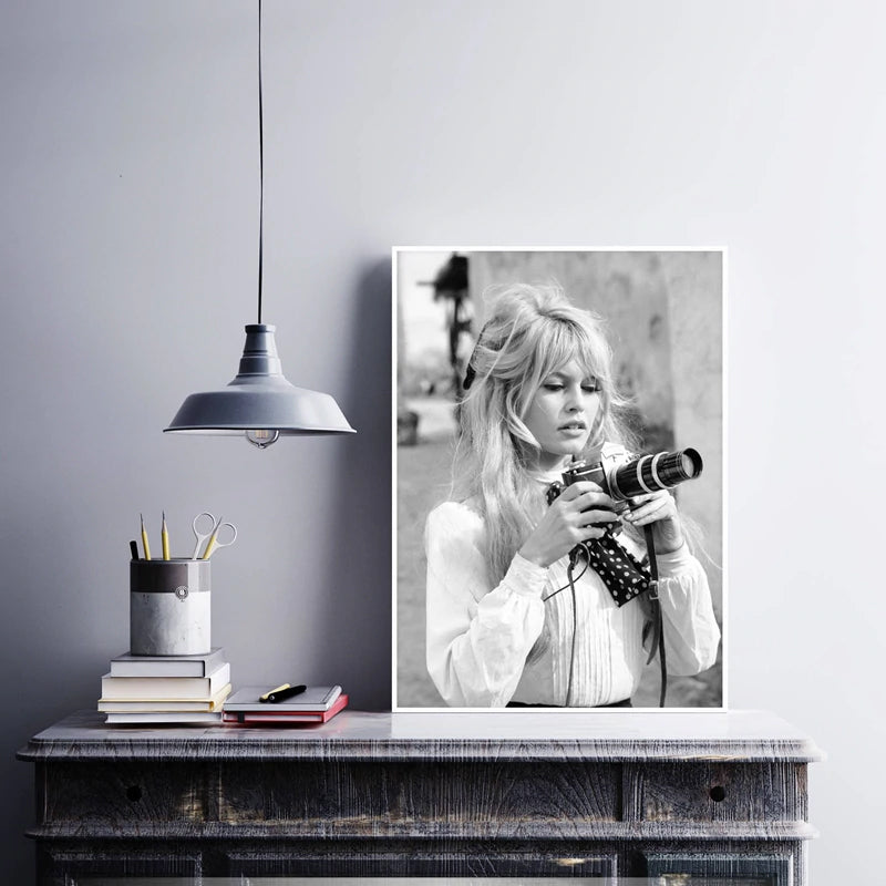 Brigitte Bardot Black & White Photography Movie Star Poster Fashion Icon Fine Art Canvas Prints For Modern Home Interior Decor Studio Wall Art