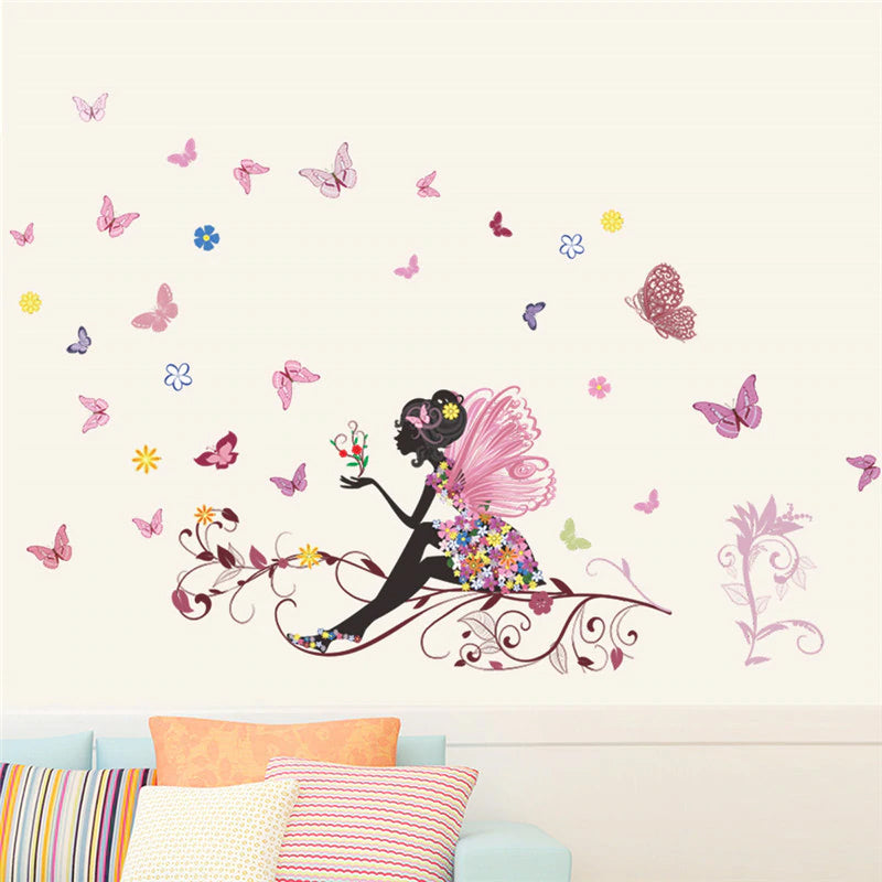Butterfly Fairy Floral Wall Decals Colorful Wall Mural For Girls Room Removable PVC Wall Stickers Creative DIY Decor For Children's Room Wall Art Home Decoration