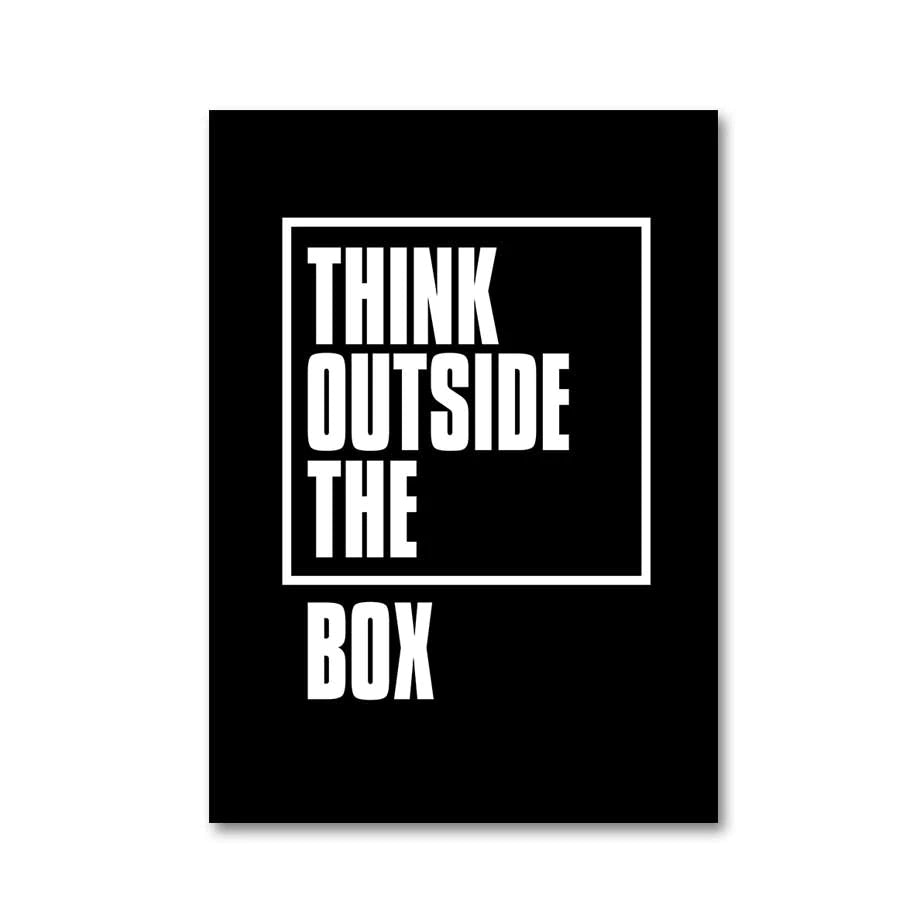 Think Outside The Box Wall Art Black And White Minimalist Typographic Quotation Fine Art Canvas Prints For Modern Home Office Interior Decor