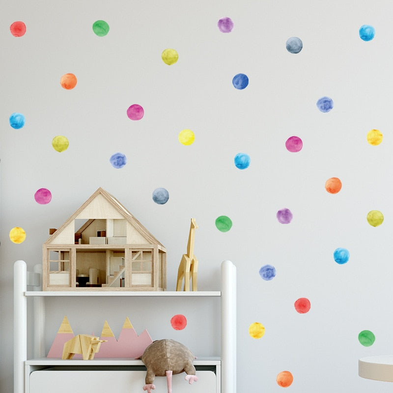 Colorful Watercolor Dots Nursery Wall Stickers Removable PVC Vinyl Multicolor Dots Decals For Kid's Room Decoration Simple Creative DIY Home Decoration