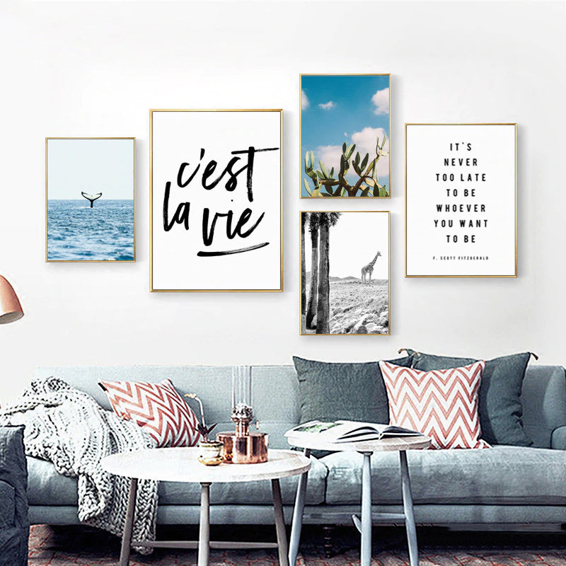 C'est La Vie Quote Wall Art Posters It's Never Too Late Minimalist Gallery Wall Art Pictures Fine Art Canvas Prints For Living Room Decor