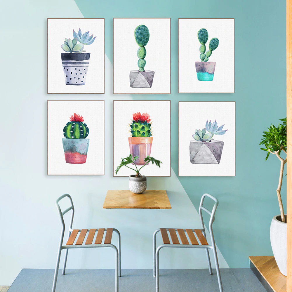 Cactus Watercolor Wall Art Colorful Potted Succulents Posters Fine Art Canvas Prints Pictures For Kitchen Dining Room Garden Home Decor