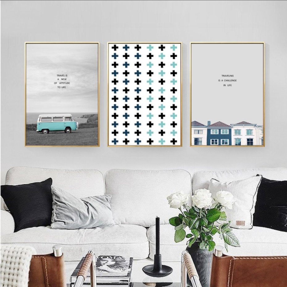 Campervan Posters Abstract Travel Wall Art Nordic Inspirational Quotations Canvas Poster Prints For Living Room Dining Room Modern Home Decor