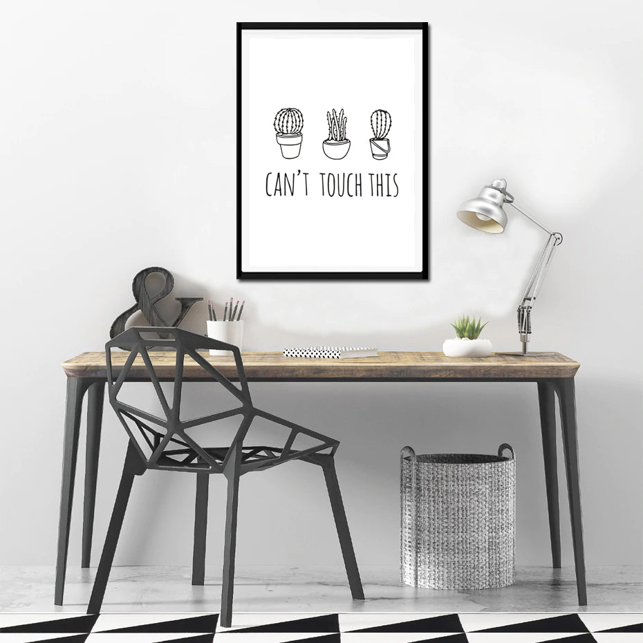 Can't Touch This Cactus Art and More Issues Than Vogue Headline Poster Wall Art Canvas Black And White Prints For Kids Room Decor