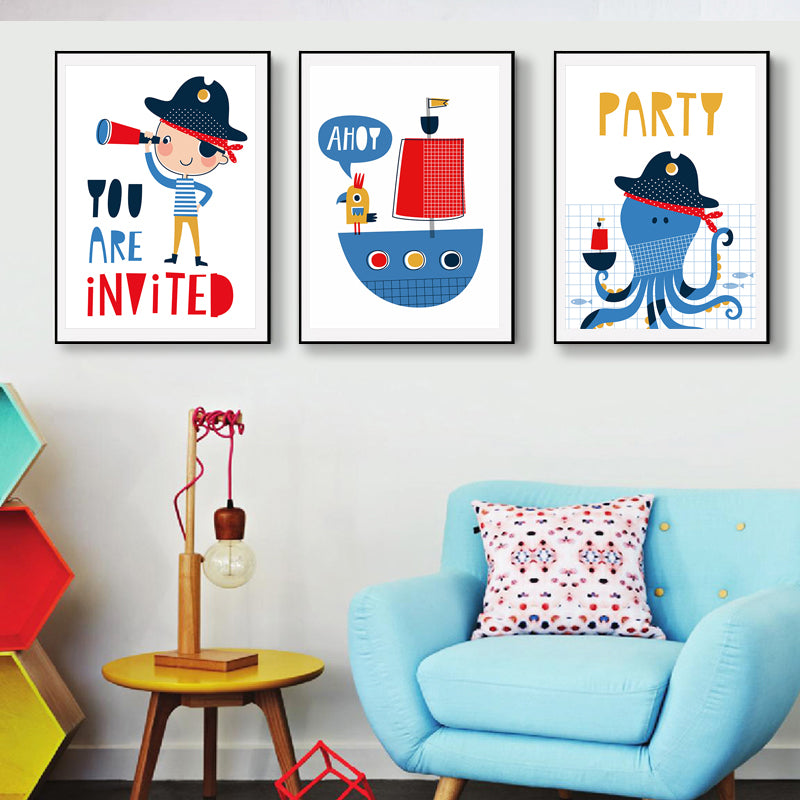 Superior Cartoon Party Pirates Colorful Nursery Wall Art Posters For Kids Boys Room  Canvas Prints Paintings For