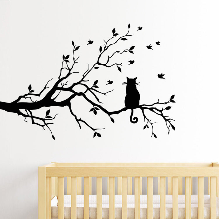 Cat In The Tree Wall Art Mural Cute Removable Peel and Stick PVC Wall Decal Minimalist Silhouette Decor For Walls Or Windows Living Room Creative DIY Home Decoration