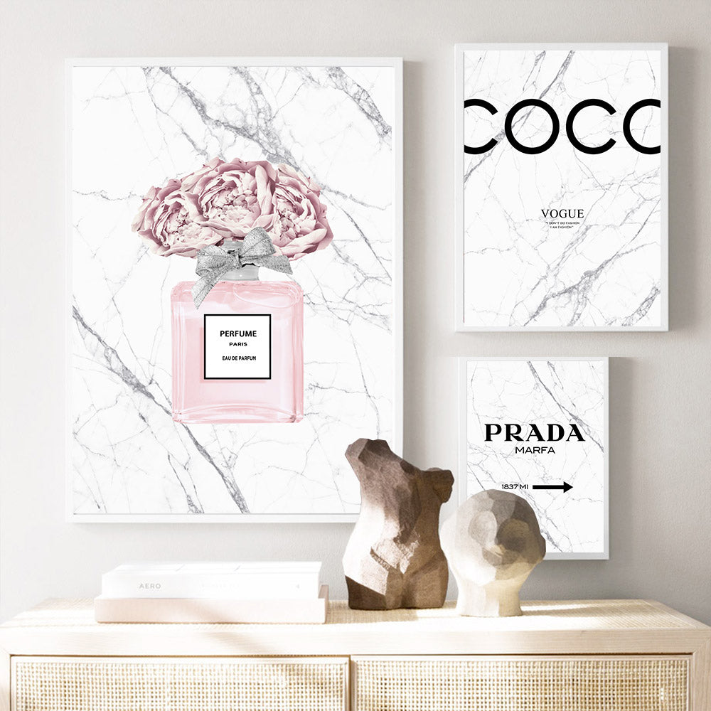 Chic Fashion Wall Art Posters Fine Art Canvas White Marble Background Pink Paris Perfume Prints Peonies Pictures For Bedroom Living Room Beauty Salon Wall Art Decor