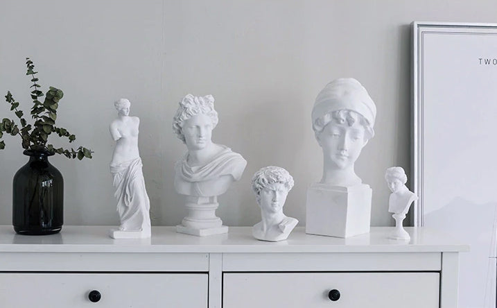 Classic Famous Renaissance 3D Sculptures Resin Busts Miniatures Head & Shoulders Statues Nordic Style Ornaments Minimalist Home Interior Decor