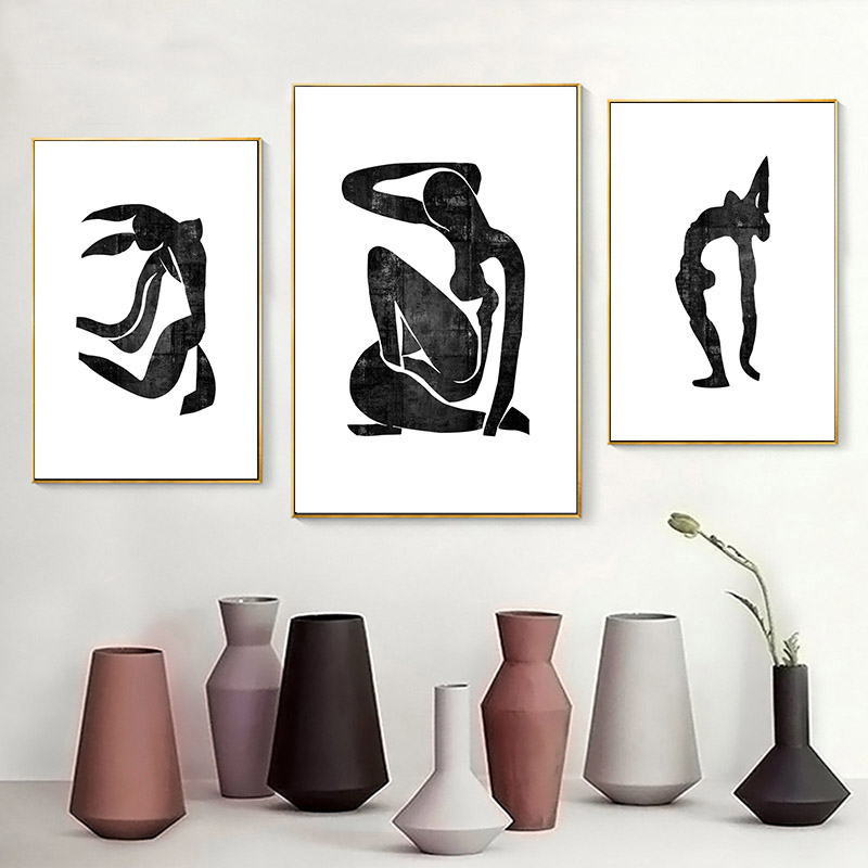 Classic Matisse Women Abstract Figure Art Wall Art Black And White Fine Art Canvas Prints For Office Living Room Dance Studio Home Decor