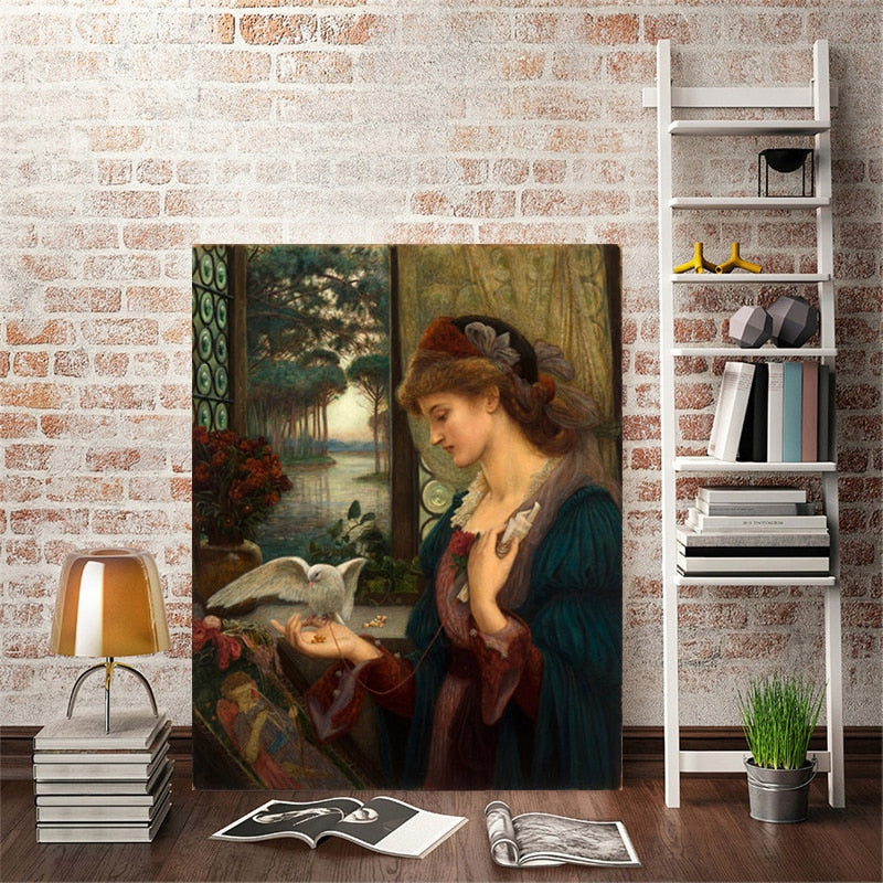 Classic Painting, Love's Messenger by Marie Spartali Stillman British Pre-Raphaelite Fine Art Canvas Print Painting For Home Decor And Art Lovers