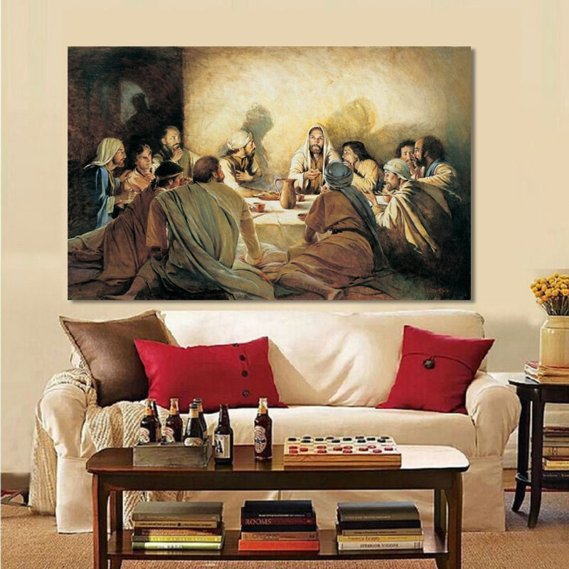 Classical Painting Wall Art Jesus Betrayal Disciples Last Dinner Fine Art Painting For Dining Room Living Room Classic Style Wall Decoration Raw Canvas Print