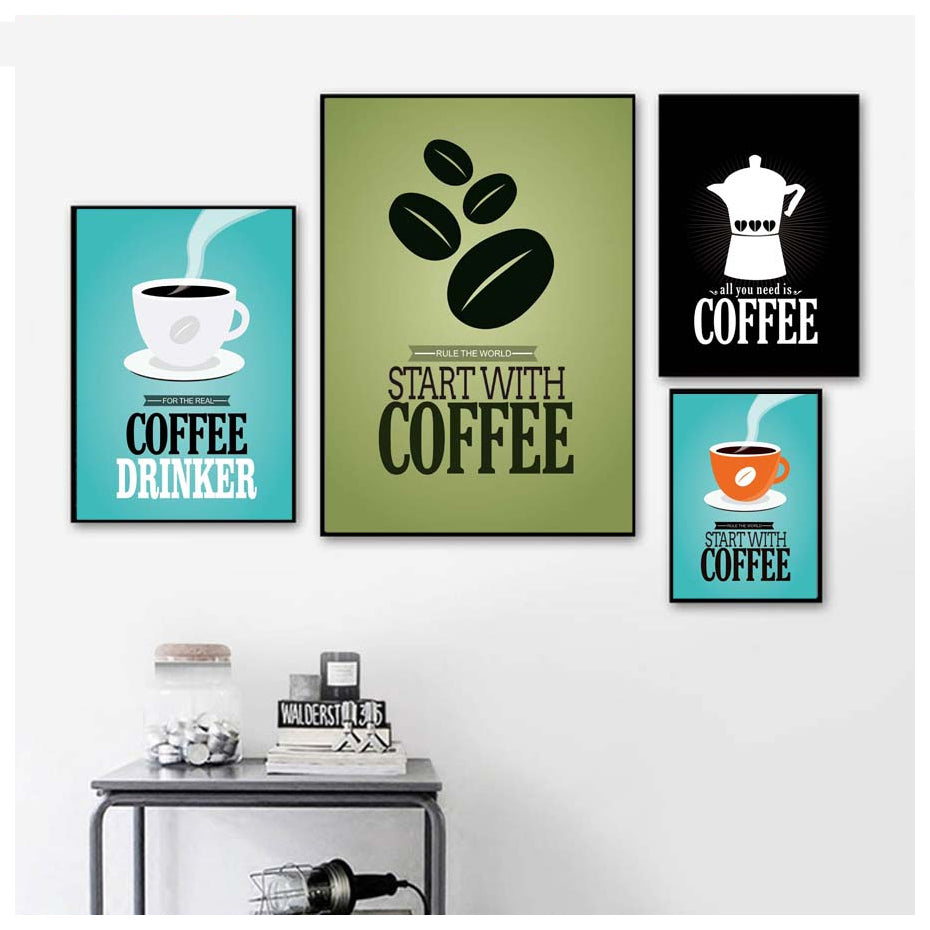 Coffee Lovers Rule The World Start With Coffee Kitchen Posters Minimalist Retro Cafe Wall Art Fine Art Canvas Prints For Kitchen Diner Cafe Wall Decor
