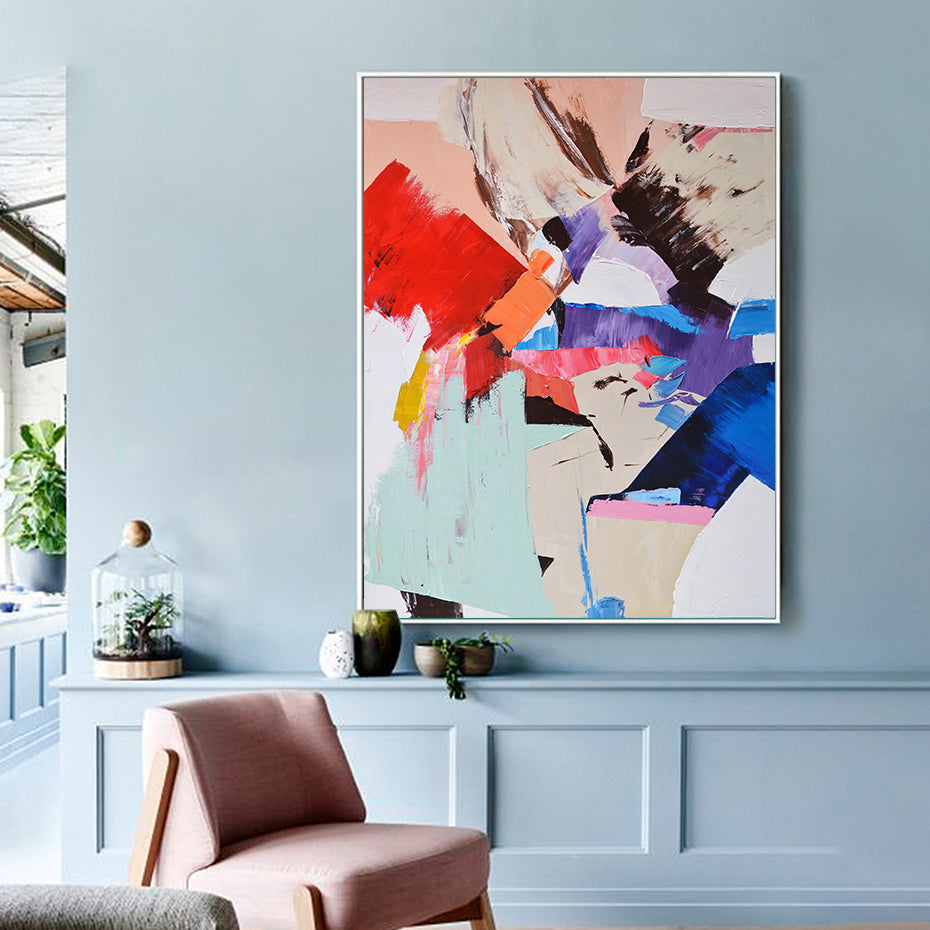 Color Splash Modern Abstract Wall Art Fine Art Canvas Print Colorful Aesthetics Picture For Contemporary Living Room Office Salon Hotel Bedroom Interior Decor