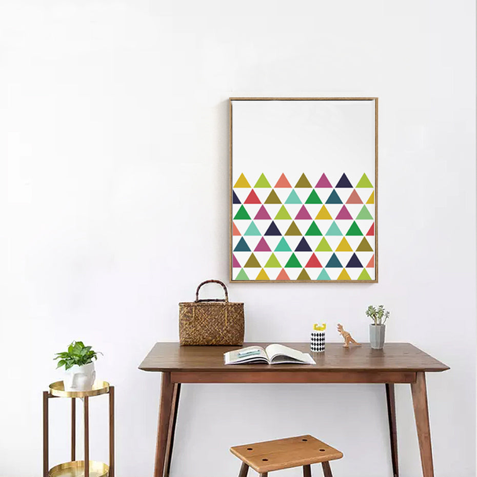 Colorful Abstract Art Geometric Triangle Poster Decorative Modern Wall Art Canvas Paintings For Nursery Kids Room Living Room Decor