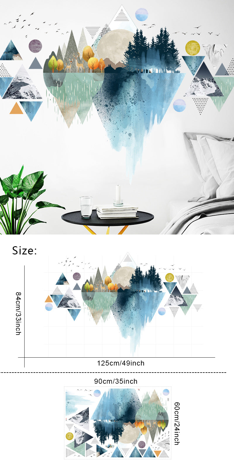 Colorful Abstract Geometric Nordic Mountain PVC Wall Decal Removable Self Adhesive Vinyl Wall Mural For Kitchen Or Kids Room Creative DIY Home Decor
